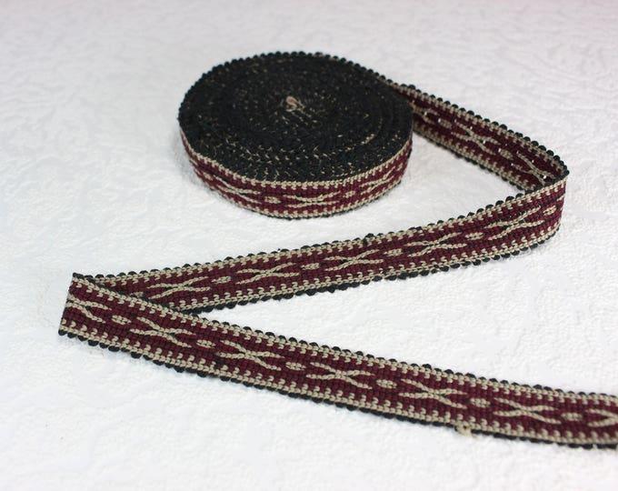 Woven Trim (6 yards), Woven Border, Cotton Ribbon, Grosgrain Ribbon, Dress Border, Border Trim, T113 (R265)