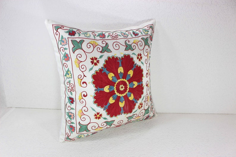 Hand-Embroidered Silk Suzani Pillow Cover