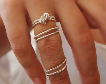 """Rope Knot Full Finger Ring -  Sterling Silver String  Ring - Twist - Two Rings - """" With Only a Rope """" Collection,"""