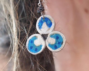 Blue Circle Earrings, Sterling Silver Leverback Earrings, Hand Painted Resin