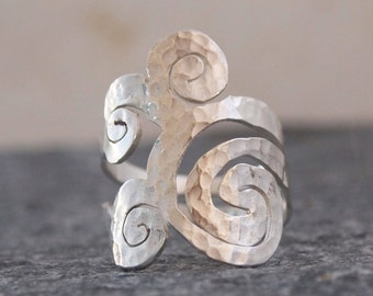 Spiral Ring, Hammered Sterling Silver Long Ring
