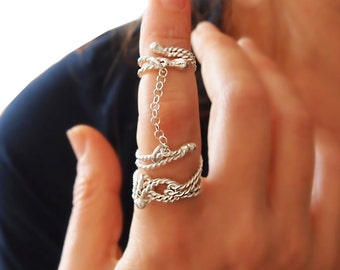 Rope Knot Full Finger Chained Ring in Sterling Silver, Nautical & Climb Jewelry,