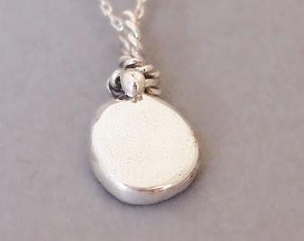Organic Silver Protection Necklace, Spiritual Jewelry, Mirror Silver Pendant, Celestial Jewelry