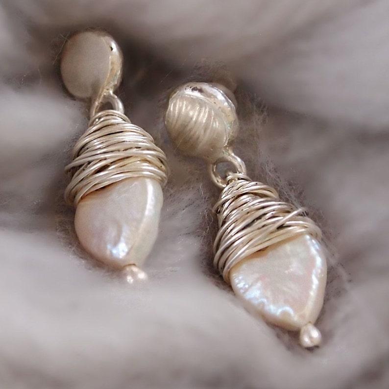 Bridal Jewelry Pearl Silver Pearl Drop Earrings Wire Wrapped Pearl Earrings