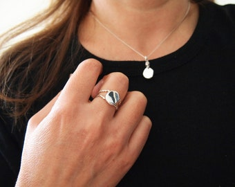 Ring and Necklace Set, Pure Silver Mirror Jewelry For Protection, Full Moon Adjustable Ring & Necklace