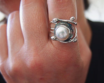 Modern Pearl Ring,  Multiband Sterling Silver Ring, Artisan Handmade, Open Band, Comfortable Silver Ring