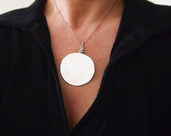 Metal Mirror Necklace, Moon / Sun Jewelry, Huge Pendant Necklace, Negative Energy Protection, Pure Silver Mirror Pendant