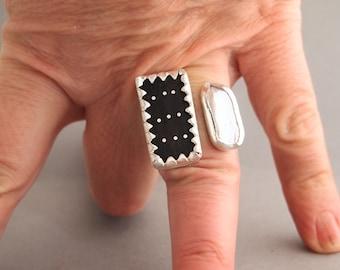 Big Silver Ring with Rectangular Black Ebony & White Stick Pearl, Black White Unusual Ring