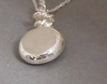 Spiritual Necklace, Protection Mirror Pendant, Evil Eye Protection, Metal Mirror, Melted& Hammered Pure Silver