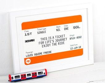 Personalised Train Ticket for Children, Personalised Childrens Print, New Baby Gift, Personalised Print, Christening Gift, Nursery Wall Art