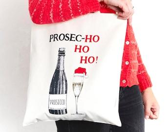 Christmas Tote Bag, Prosecco Tote Bag, Prosecco Gift, Shopping Bag, Tote Bag, Shopper, Prosecco, Holiday Gift, Stocking Filler, Xmas, Bag