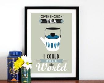 Tea Kitchen Art, Tea Poster, Tea Print, Retro Tea Print, Tea Decor, Kitchen Wall Art, Kitchen Art Print, Kitchen Decor, Kitchen Wall Decor