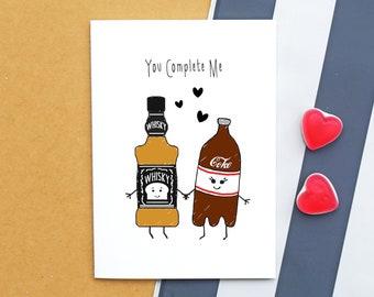 Whisky Card, Birthday Card, Funny Card, Whiskey, Anniversary Card, Boyfriend Card, Girlfriend Card, Valentines Day Card, Love, Illustration