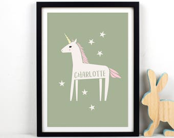 Personalised Unicorn Print, Unicorn Art, Unicorn Home Decor, Unicorn, Art Print, Unicorn Wall Decor, Personalised Print, Girls Room Decor