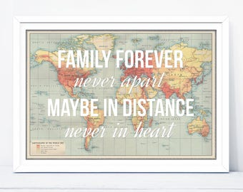 Long Distance Love Quote World Map Print Poster Map Of The Etsy