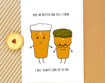 Funny Card For Dad Birthday Fathers Day Beer Quote Illustration