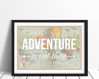 World map poster adventure is out there map of world print etsy world map print travel poster map quote wanderlust poster adventure world map poster a2 traveller map of world explorer travel gumiabroncs Gallery