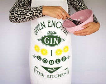 SALE, Gin Apron, Womens Apron, Funny Apron, Gin, Cooking Apron, Gin Humor, Gin Lover, Chef Humour, Chef Apron, Hostess Gift, Gin Lover Gift