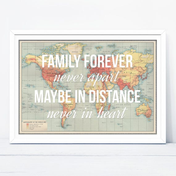 Long Distance Family Print Family Quote World Map Print Map Etsy