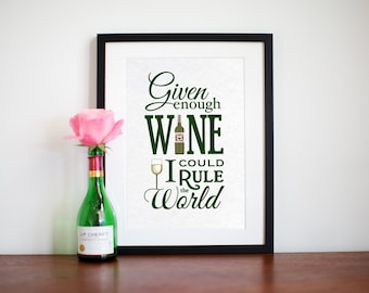 WIne Quote, Wine Poster, Kitchen Quote, Kitchen Art, Art Print, Wine Print, Liquor, Wine Picture, Given Enough Wine, Typography, Food Print