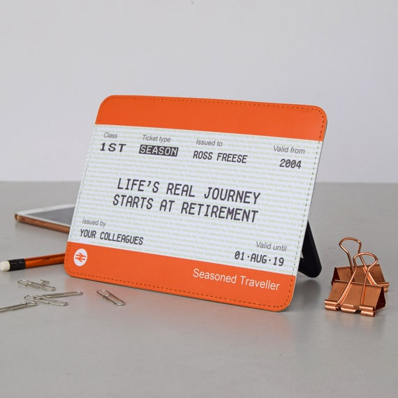 Train Ticket Style Print Framed FULLY ENDORSED Personalised Retirement Gift