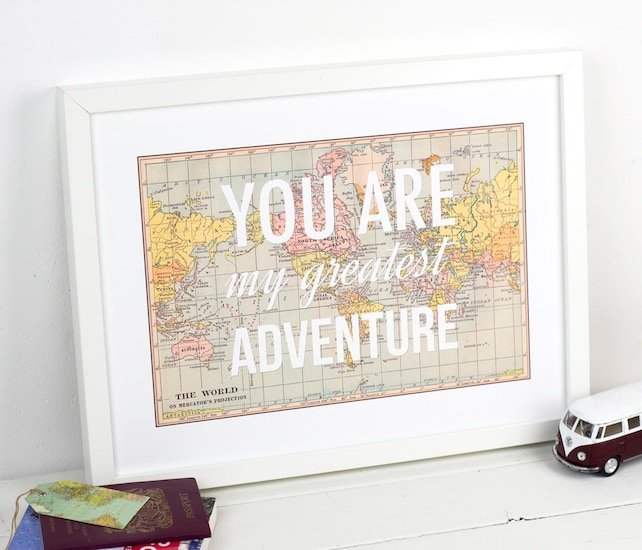 You are my greatest adventure world map poster map art etsy image 0 gumiabroncs Choice Image