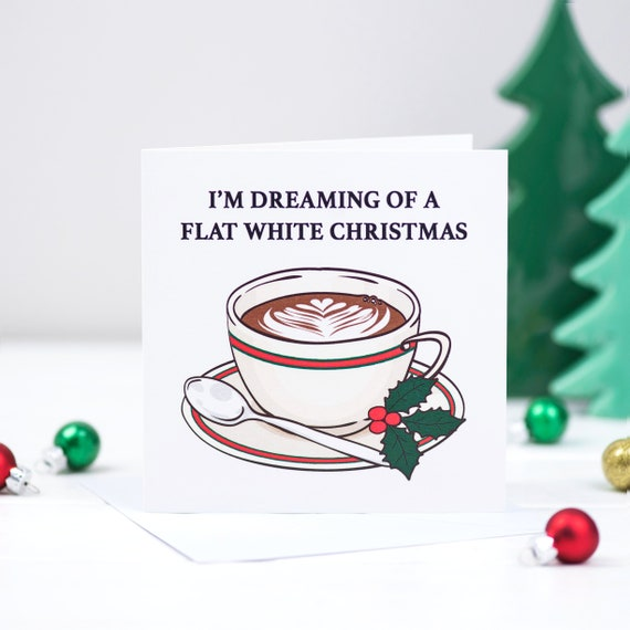 Coffee Christmas Cards.Coffee Christmas Card Coffee Funny Christmas Card Flat White Christmas Coffee Humor Coffee Holiday Card Card Pack Holiday Card Pack