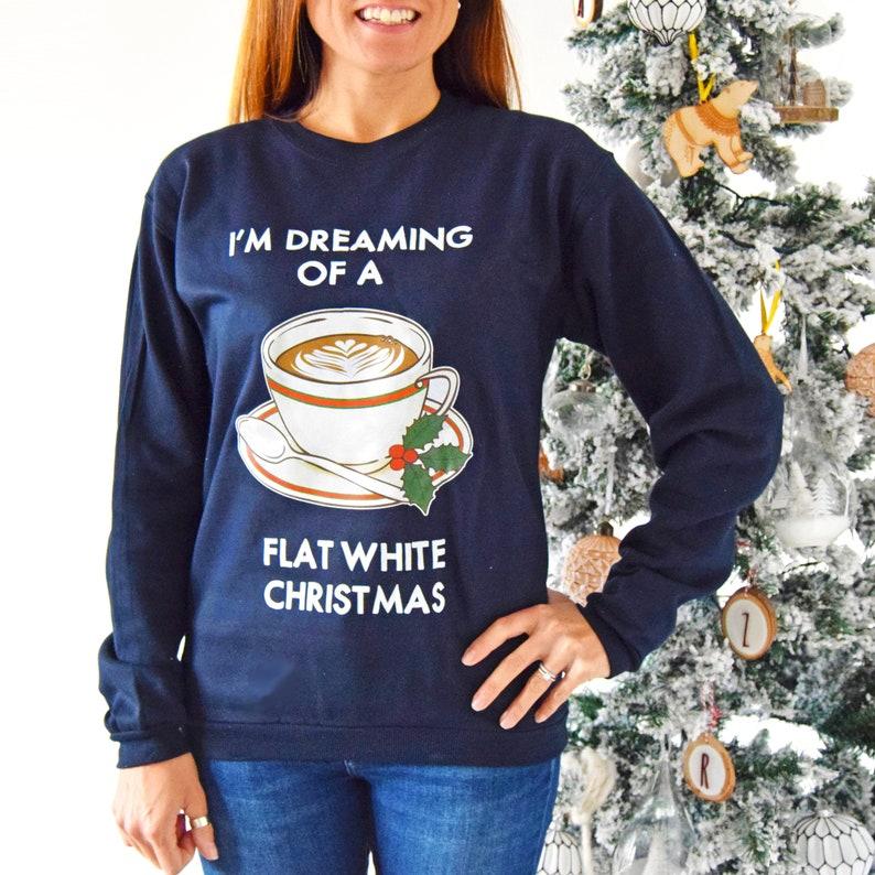 c031757653e Drôle de Noël café Jumper Noël Sweatshirt plat blanc pull