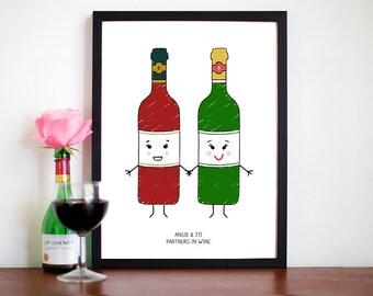Best Friend Gift, Friendship Print, Wine Print, Wine Quote, Wine, Illustration, Mates, Friend Quote, Wine Gift, Friendship, Gift for Friend