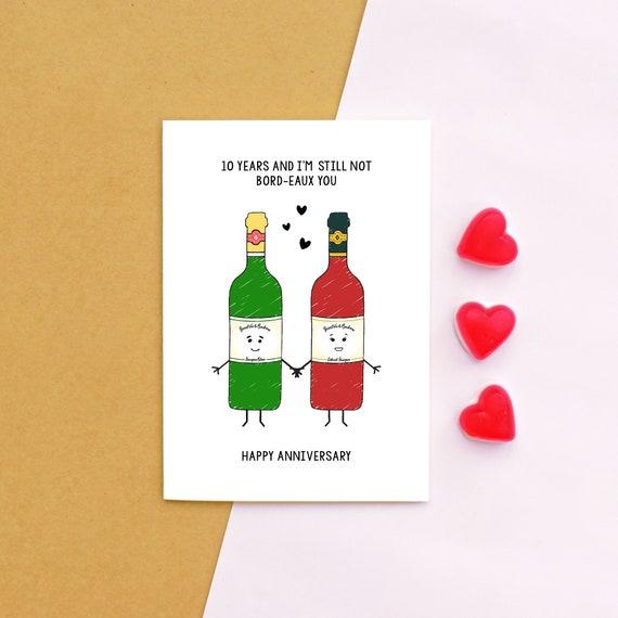 Personalisierte Jahrestags Karte Jahrestags Karte Wein Wein Etsy