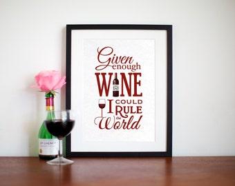 Wine Wall Art, Wine Print, Typographic Print, Wine, Wine Quote, Wine Decor, Kitchen Wall Art, Typography, Kitchen Poster, Oflifeandlemons