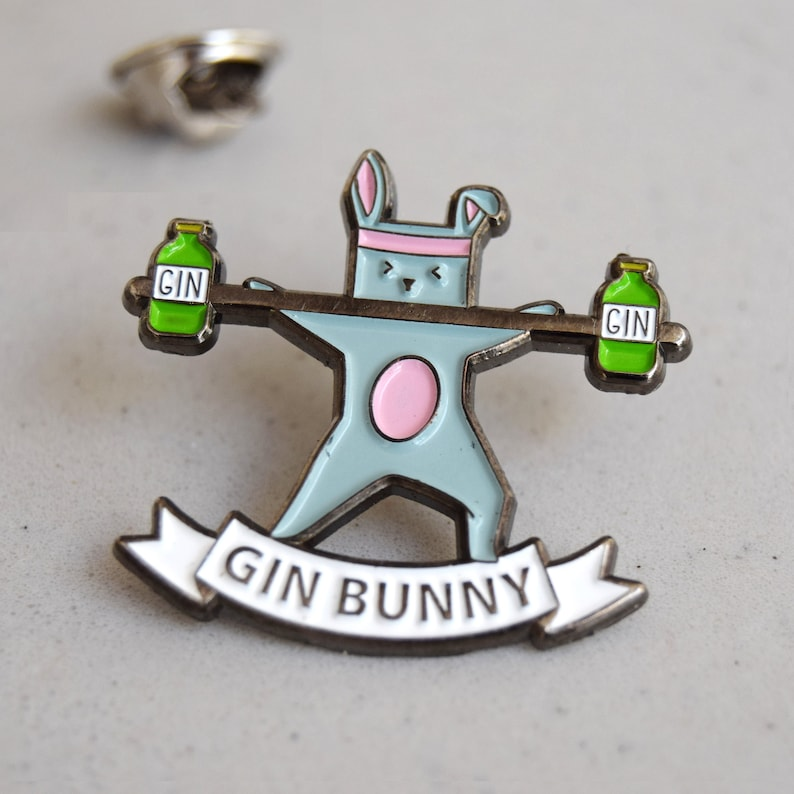Gin Bunny Enamel Pin Badge Gin Pin Gin not Gym Gift for Friend Enamel Pin Gin Brooch Gin Badge Enamel Badge Gin Gift Gym /& Tonic