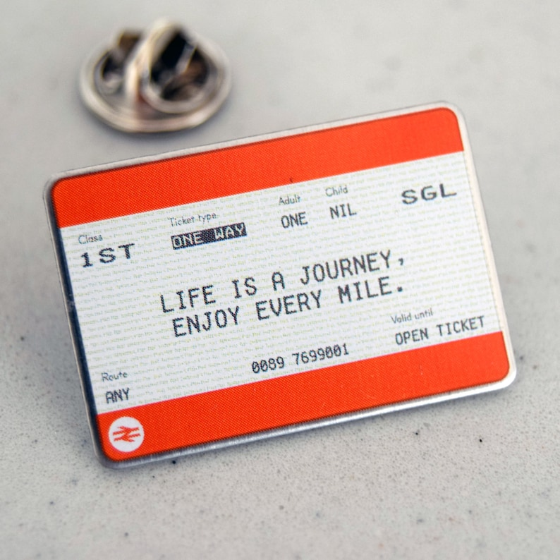 Train Ticket Pin Badge Pin Badge Train Ticket Life Is A Etsy