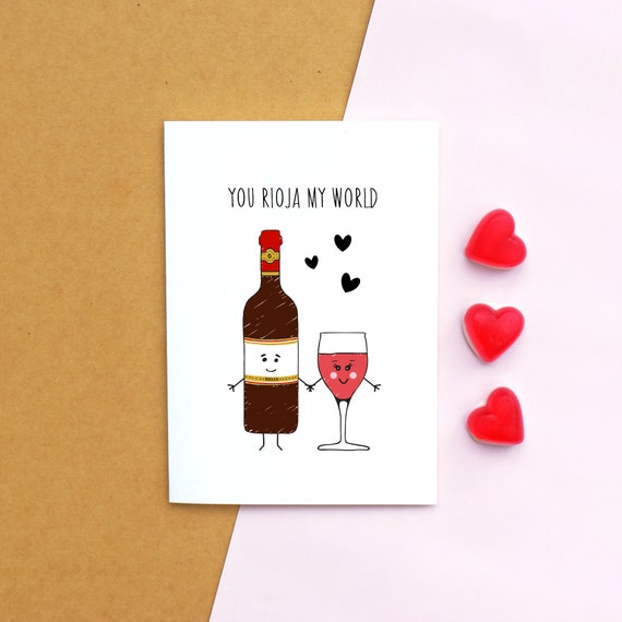 Wine Valentines Card Birthday Card Wine Rioja Etsy