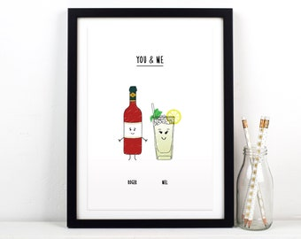 Personalised Drinks Print, Gift for Couple, Personalised Engagement Gift, Personalised Anniversary Gift, Couples Gift, Best Friend Gift