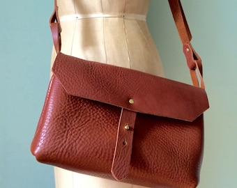 Brown leather handbag, mini messenger bag, mid brown veg tan leather satchel / saddlebag