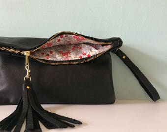 Leather Purse Bag Clutch Handbag Fold Over Black qOC7Z1dqW