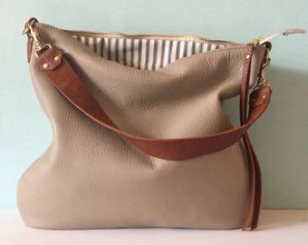 Stone leather bag, taupe leather handbag, grey leather messenger bag, leather purse