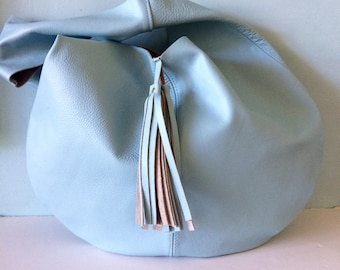 Leather hobo bag, pale blue leather slouch bag, duck egg blue leather tote