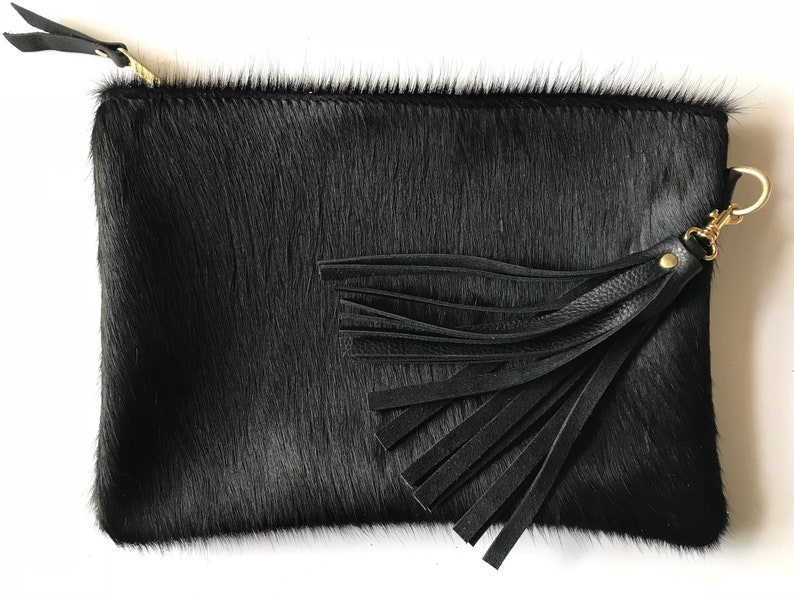 a7e686ba9df Black leather clutch cow hair purse cowhide bag leather