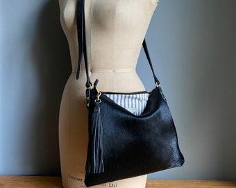 Black leather Miss Mason handbag, black cowhair bag, black leather and cowhair purse