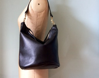 Bucket bag, black leather bucket handbag, black bag