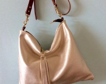 Gold leather bag, soft gold handbag, metallic evening purse, champagne gold leather crossbody bag, made by Ginger and Brown