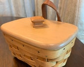 Longaberger Wall Mounted Recipe Basket with Woodcrafts Lid and Recipe Cards