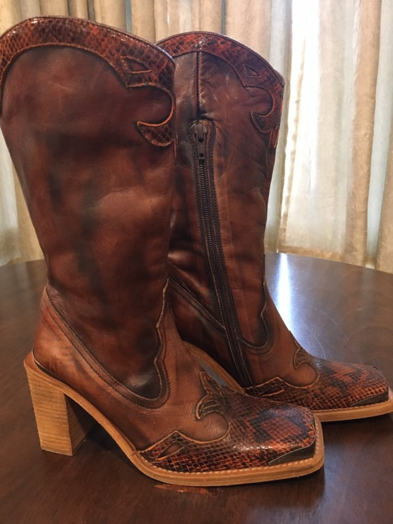 804c0eaf818 Steve Madden Leather Western Cowboy Boots Womens size 6