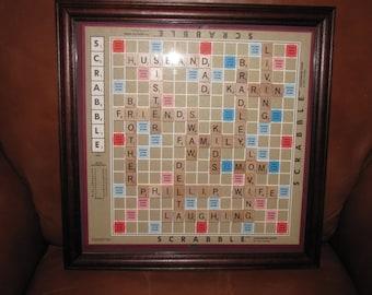 Personalized Scrabble Board Wall Art Framed Picture Home Interior Decor