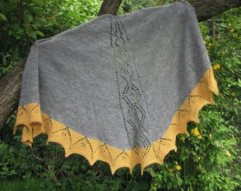 hand knit gray and curry shawl with lace pattern, mohair and alpaca yarn - perfect gift for her