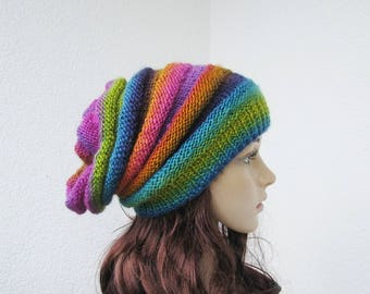 3cc228ddcec hand knitted slouchy rainbow striped hat