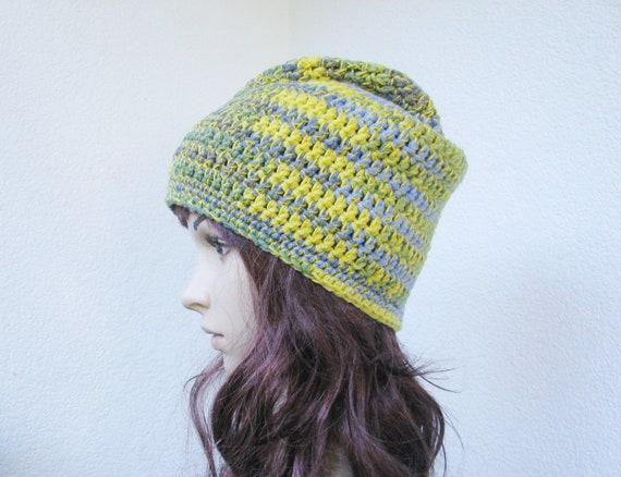 au crochet jaune vert bleu multicolore Tuque unisexe   Etsy edf8b282d42