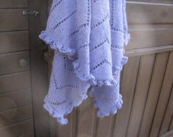 hand knit elegant periwinkle, lavender stole, mohair rectangle ruffled edge shawl, evening wrap, warm luxury gift for her